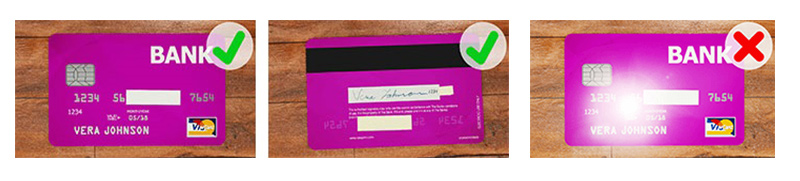 レジットカードの撮影方法