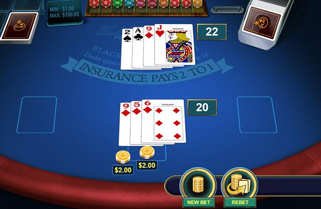 カードの追加と賭け金を倍にして勝負