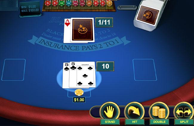 スプリット=同じカードを2つのハンドに分ける