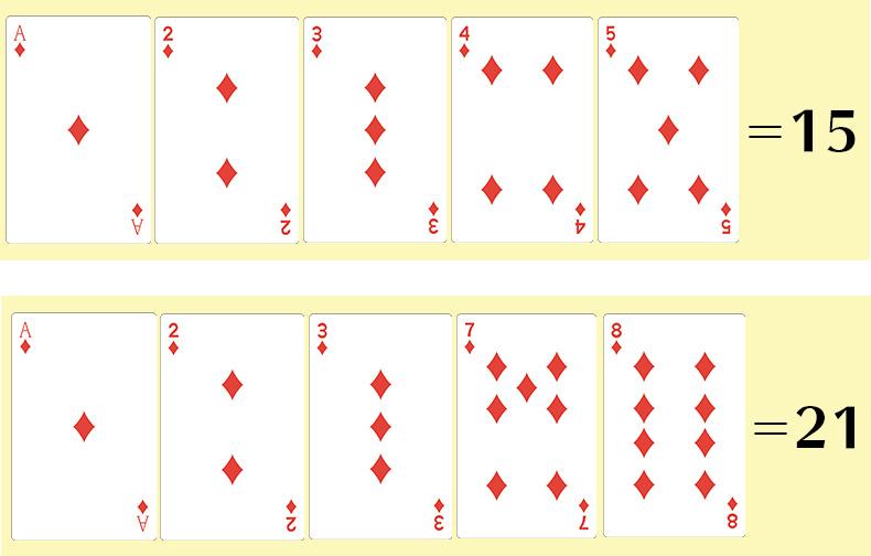 ハンドのカード枚数が5枚で21以下